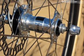 The cartridge bearing hubs roll smoothly and are splined for Center Lock rotors. Six-bolt ones will work with an adapter, as shown here