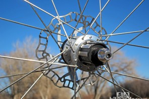 HED builds both the front and rear Stinger 5 Disc wheels with 24 Sapim X-Ray spokes, laced two-cross throughout