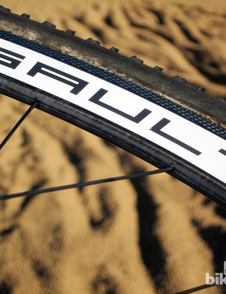 Nipples are hidden inside the rim, meaning users will have to strip the tire if truing is required