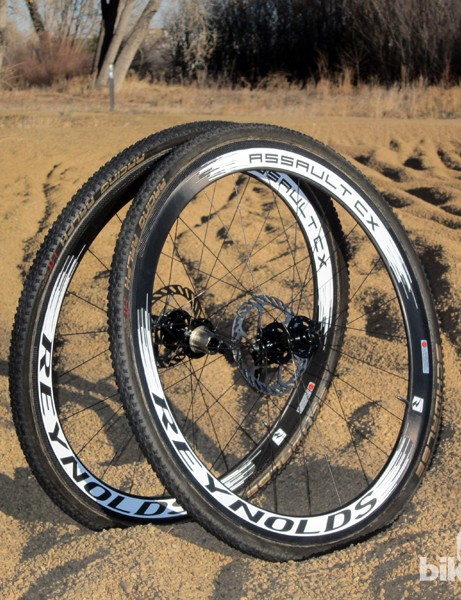 The Reynolds Assault CX carbon tubulars are disc-ready with six-bolt hubs and 135mm rear spacing. The rims can still be used with conventional cantilevers if desired, though