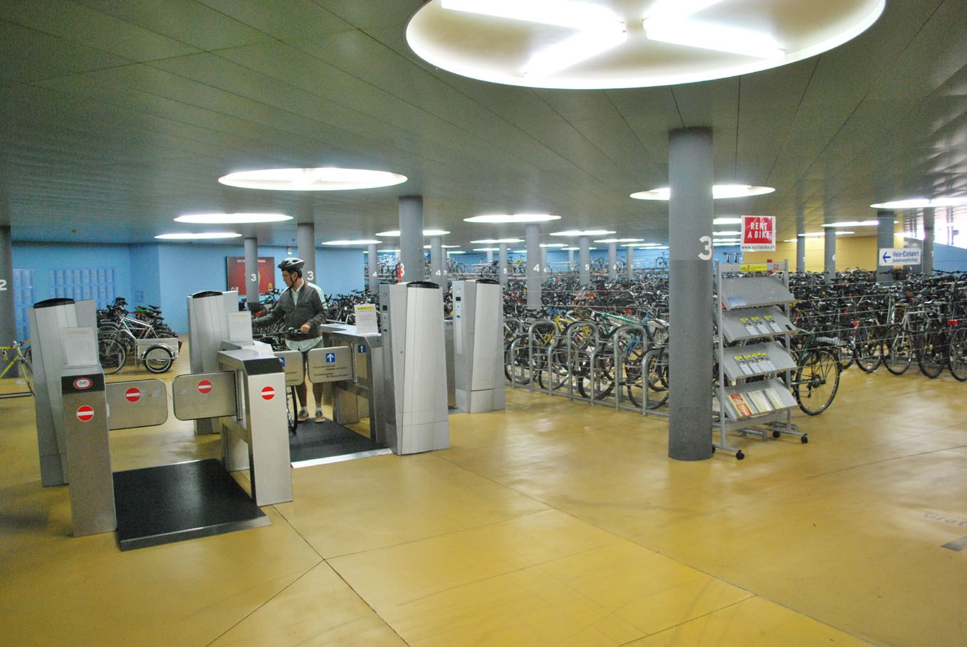 A 'ride in, ride out', fully automated cycle store in Basel, Switzerland