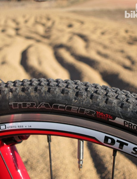 The Specialized Tracer Pro tires feature a low-profile tread that rolls quickly but offers excellent grip on hardpacked dirt and grass. Unfortunately, they're much narrower than their markings would suggest
