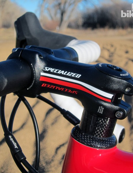 The Specialized Pro-Set aluminum stem's angle can be adjusted by rotating the underlying shim