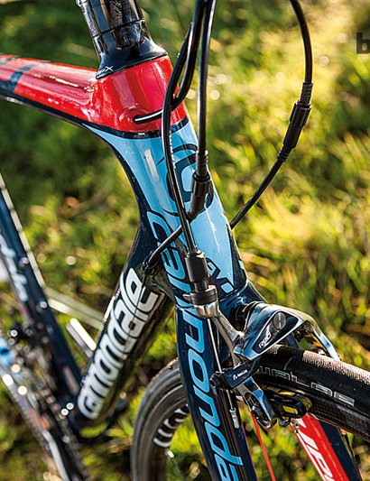 Massive frame pipes allow Cannondale to use ultra-thin tube walls to keep frame weight down