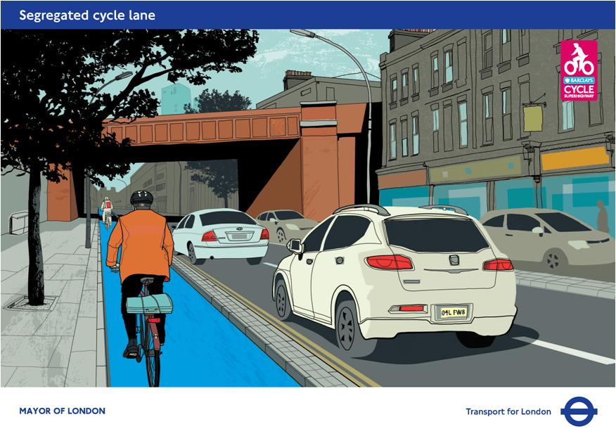 The proposed cycle lane for Stratford High Street, London