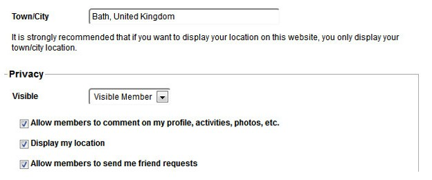 Fill in the location and privacy settings in your profile