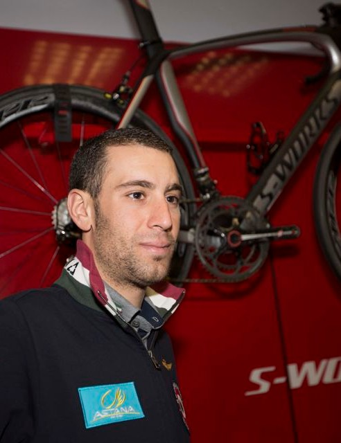 Vincenzo Nibali poses in front of a Specialized S-Works bike