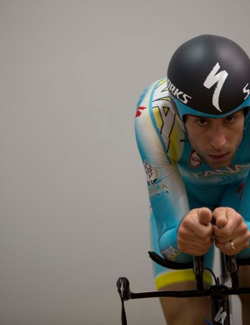 Nibali's bars were raised so he could try to relax his shoulders and drop his head