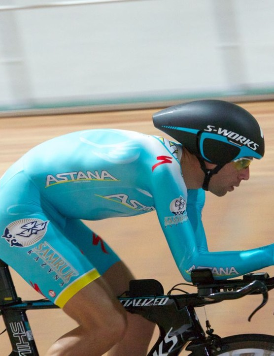 A side-on view of Nibali's original position