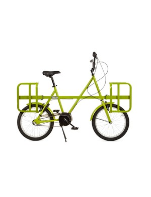 The Donky bike with its quick-release racks raised