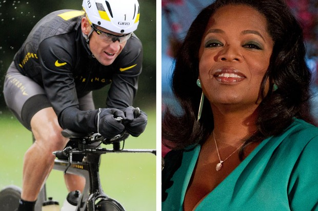 "Lance Armstrong (L) and Oprah Winfrey (R). After more than a decade of denying that he doped to win the Tour de France seven times, Armstrong sat down on Monday, Jan. 14, 2013 for what has been trumpeted as a ""no-holds barred,"" 90-minute, question-and-answer session with Winfrey"