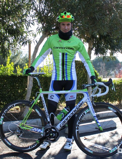 Despite the cold temperatures Ivan Basso was kind enough to stop moving along enough for us to snap his photo