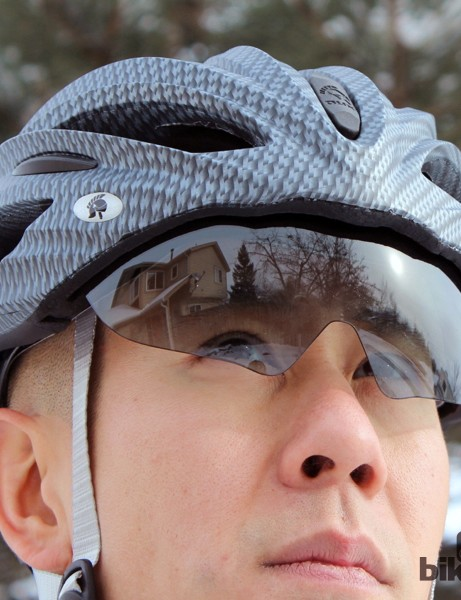 Optical quality is just so-so on the visor, with a fair amount of distortion readily apparent. The lens sits far away from your face and there's also a big gap at the bottom, too, so there's a lot of wind hitting your eyes, plus glare coming up from below