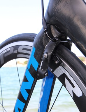 One key element to the new Giant Propel Advanced SL's aerodynamic performance is the hidden front and rear brakeset, developed with TRP and exclusive to the Propel