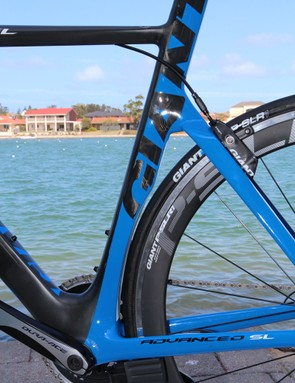 The seat tube cutout is tight but Giant says the Propel and Envie will still accept 25mm tires