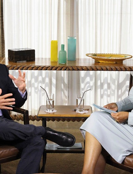 Oprah Winfrey interviews Lance Armstrong at his home in Austin, Texas