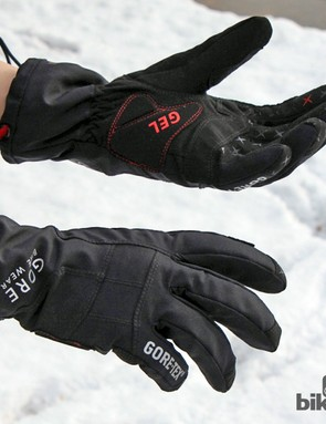 Gore Bike Wear's Alp-X Gore-Tex gloves are wonderfully warm - good down to about 20°F based on our experience