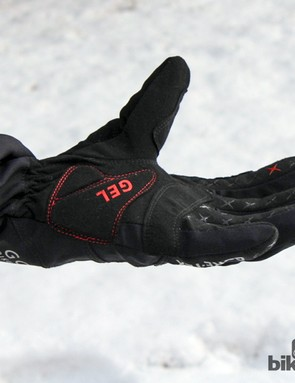 The grippy suede-like palm is augmented by a thin pad and silicone rubber finger appliques