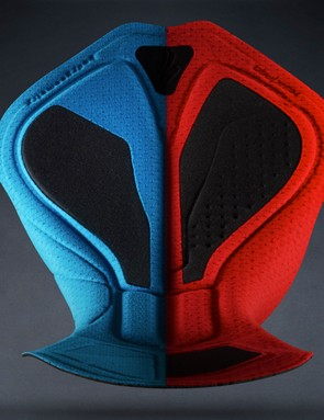The new Roubaix and SL chamois are designed for two riding types. The blue SL is for more aggressive riding where the pelvis is tilted forward; the red RBX is for more upright riding