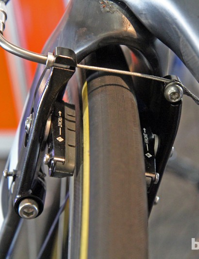 Blanco's custom team-only aluminum brakes certainly aren't as sleek looking as the standard carbon composites units used on production bikes - and are certainly heavier - but they seem to work much better