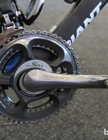 Mark Renshaw's (Blanco) new Giant Propel Advanced SL aero road bike is nowhere near the UCI minimum weight limit at 7.59kg (16.73lb, without SRM computer). However, the data generated by his SRM power meter is still far more valuable than shaving a few grams