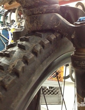Better to figure this out in the shop than the trail: a worst-case scenario with a 650b tire in a 26-inch Fox fork