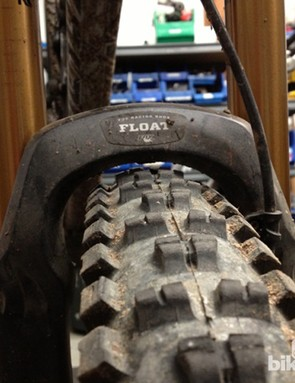 Barely any mud clearance in this 26-inch fork with a 650b Maxxis Highroller