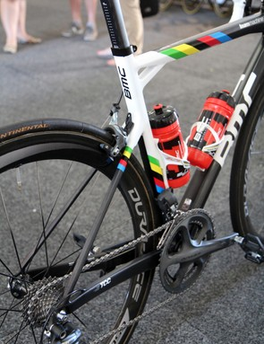 While BMC's latest TimeMachine TMR01 prioritizes aerodynamic performance, team captain Philippe Gilbert's TeamMachine SLR01 uses stiffer and more squared-off tube profiles plus specifically designed flex zones for better ride quality and traction