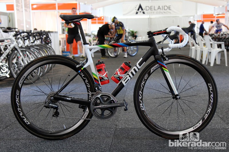 Philippe Gilbert (BMC) gets a bit of rainbow flair on his BMC TeamMachine SLR01 for the 2013 Tour Down Under