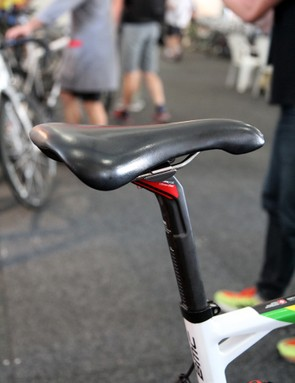 An old-school Selle Italia saddle is mounted atop the BMC TCC carbon fiber seatpost