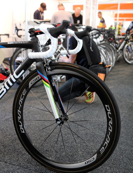 50mm-deep Shimano Dura-Ace carbon fiber tubular wheels for Philippe Gilbert (BMC)