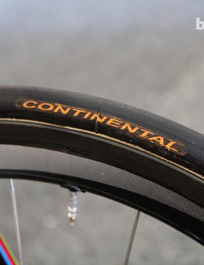 Philippe Gilbert's Continental tubular tires looked to be a fairly standard 22mm or so in width