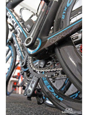 Ag2R-La Mondiale's Focus Izalco frames feature a Shimano Di2 battery mount on the underside of the chain stay but it goes unused in this case because the team is using Campagnolo