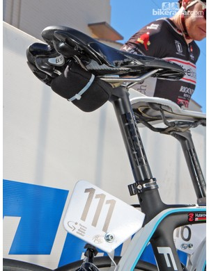 Hmm, what's this beneath the saddle of Ag2R-La Mondiale rider Yauheni Hutarovich? We're not sure, but given the SRM power meter we're guessing it's some sort of telemetry device
