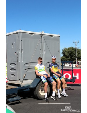 Teams are generally using rented vehicles for Tour Down Under, meaning the giant team buses - and their on-board bathrooms - have given way to minivans and porta-potties