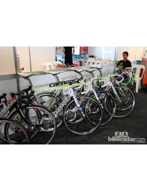 Factory team Cannondale SuperSix Evo Hi-Mod rigs stand at the ready before the start of the 2013 Tour Down Under