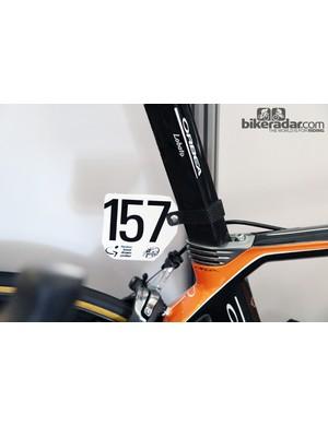 Custom carbon fiber number plate holders for Euskaltel-Euskadi's Orbea Orcas