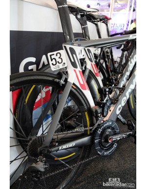 The new paint job has gone a long way toward alleviating the visual awkwardness of Garmin-Cervélo's S5 VWD