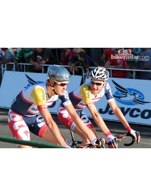 Despite the heat of Sunday's People's Choice criterium, Lotto-Belisol riders sported Lazer's new chrome Aeroshell helmet covers for a little extra speed. If nothing else, they made the riders hard to miss