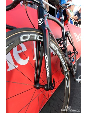 Ridley builds a number of aerodynamic features into Lotto-Belisol's Noah FAST model, including these uniquely split fork legs
