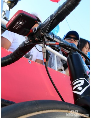 As there are no barrel adjusters on the integrated linear-pull brakes of Lotto-Belisol's Ridley Noah FAST, mechanics install inline adjusters instead