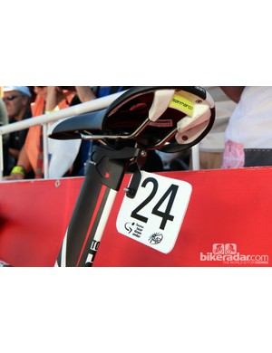 Custom number plate holders are bolted right to the back of Lotto-Belisol's Ridley integrated seatmast heads