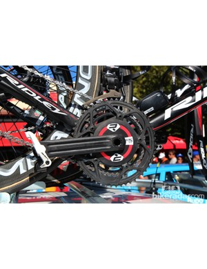 Several Lotto-Belisol bikes had these unmarked Rotor 3D cranksets installed