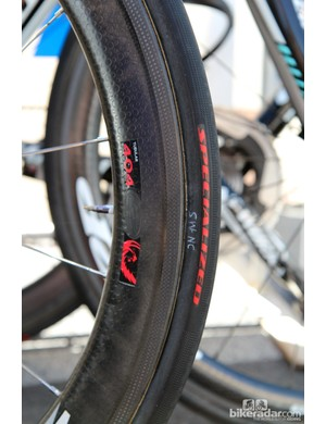 Specialized tubular tires are mounted to the Zipp carbon wheels of Omega Pharma-QuickStep