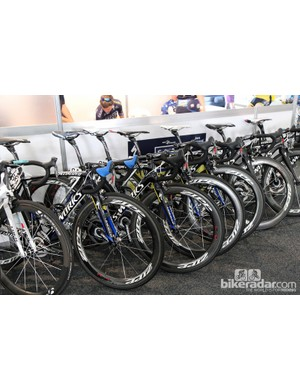 Saxo-Tinkoff's Specialized S-Works Tarmac SL4 machines lined up before heading out for a training ride