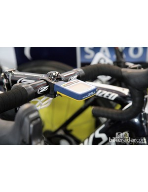 Custom blue and yellow SRM PowerControl 7 computer heads for the Saxo-Tinkoff team