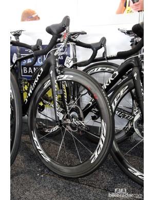 Veloflex Carbon tubulars mounted to Zipp carbon wheels for the Saxo-Tinkoff team
