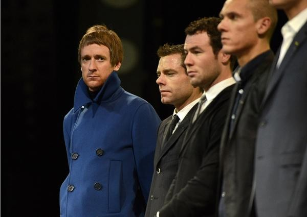 Bradley Wiggins (far left) at the Tour de France presentation