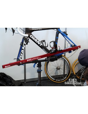 Because this jig locates off the front and rear axles it can be used on the workstand and doesn't require flat ground