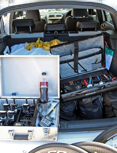 Astana's mechanics not only have bikes to prep but race radios to hand out, too